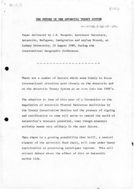 "Burgess, John R ""The future of the Antarctic Treaty System"" Paper delivered at Internat..."