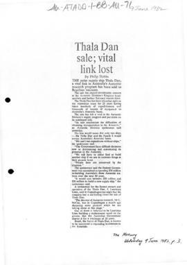 "Hobbs, Philip ""Thala Dan sale: vital link lost"" The Mercury"
