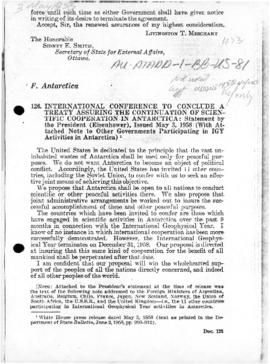United States announcement of the Washington Conference, and on the adoption of the Antarctic Treaty