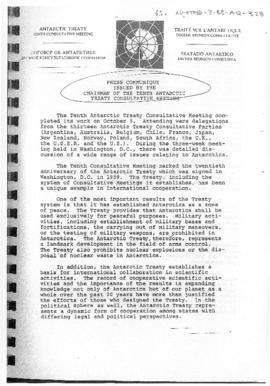 "Tenth Antarctic Treaty Consultative Meeting (Washington) Non-paper ""Press communique issued by the Chairman of the Tenth Antarctic Treaty Consultative Meeting"" (un-numbered document circulated at the meeting)"