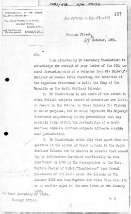 Colonial Office letter to British Foreign Office concerning Argentine actions at South Shetland Islands