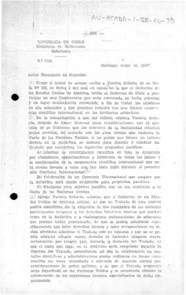 Chilean note to the United States accepting the United States' invitation to attend a conference ...