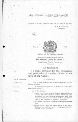 United Kingdom, Falkland Islands, Revised edition of the Laws Ordinance 1977, and related Ordinance concerning the interpretation of law