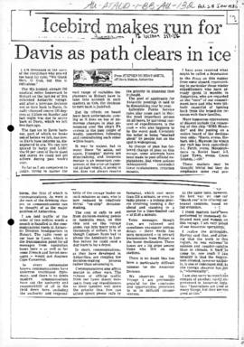 "Stephen Murray-Smith ""Icebird makes run for Davis as path clears in ice"" Australian"