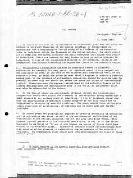 Sweden and Antarctica, United Nations General Assembly, document A/39/583(Part II)