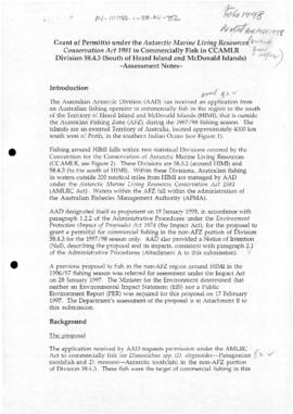 Australian Antarctic Division, Assessment Notes on grant of permit to commercially fish south of Heard Island and McDonald Islands