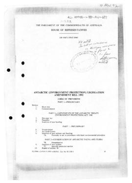 Australia, Antarctic (Environment Protection) Legislation Amendment Bill 1992