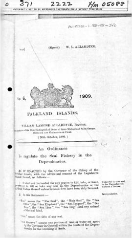 Falkland Islands, Seal Fishery (Dependencies) Ordinance, no 6 o f 1909