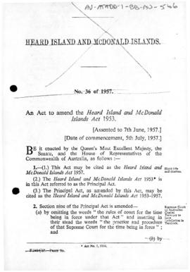 Australian Antarctic Territory Act 1954, Amendment 1957