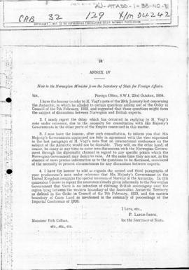 British note to Norway containing an assurance concerning British intentions as regards the region lying between the Australian Antarctic Territory and Coats Land