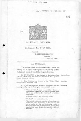 United Kingdom, Whale Fishery (Consolidation) Ordinance, 1936