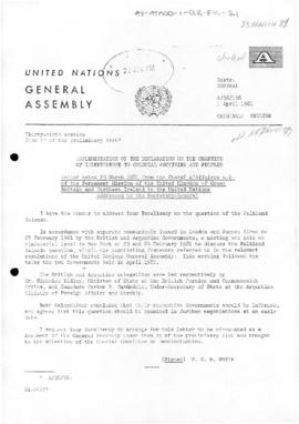 United Nations General Assembly, 36th session, correspondence from United Kingdom and Argentina concerning Implementation of the Declaration on the Granting of Independence to Colonial Countries and Peoples