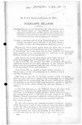 United Kingdom, Letters Patent constituting the office of Governor of the Colony of the Falkland Islands and providing for the Government thereof