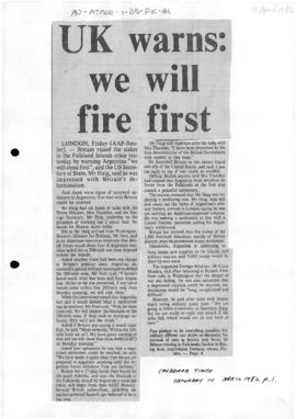 Press articles concerning the Falkland Islands conflict