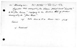 "Argentine note responding to the British protest at the presence of Chilean patrol boat ""Lie..."