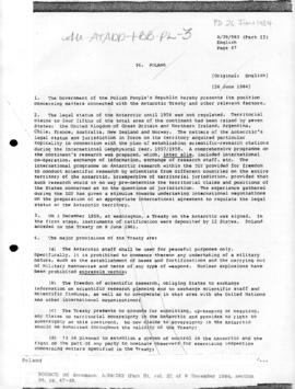Poland and the Antarctic Treaty, United Nations General Assembly, document A/39/583(Part II)