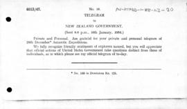 British telegram to New Zealand concerning United States expeditions