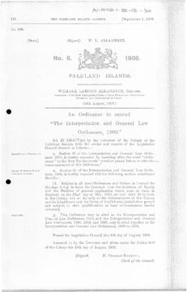 Falkland Islands, Interpretation and General Law Ordinance, no 6 of 1908