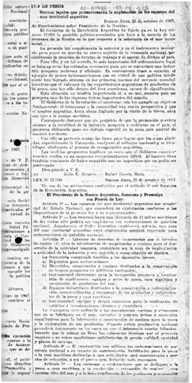Argentina, Law no. 17,500 promoting the exploration of the resources of the Argentine territorial...