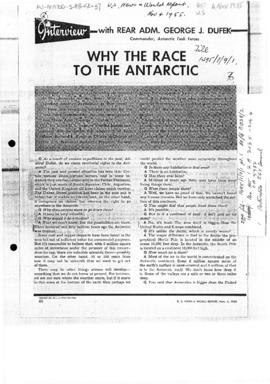 "Press article ""Why the Race to the Antarctic"", interview with Admiral Dufek in US News ..."