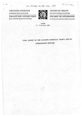 Eleventh Special Antarctic Treaty Consultative Meeting, fourth session (Madrid), working paper. Draft Final report of the Eleventh Antarctic Treaty Special Consultative Meeting