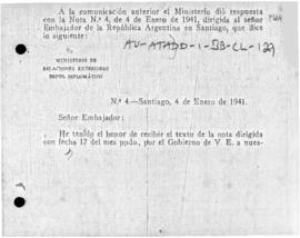 Chilean note to Argentina concerning the delimitation of Antarctic claims