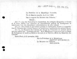 Decree attaching French Antarctic territories to the Government General of Madagascar