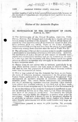 United States, State Department memorandum concerning claims to Antarctica and participation in the International Geophysical Year