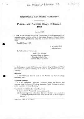 Poisons and Narcotic Drugs Ordinance 1985 of the Australian Antarctic Territory