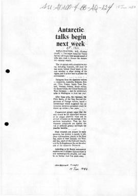 Press articles concerning Antarctic minerals negotiations, Wellington and Bonn, 1983