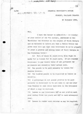 United Kingdom, Letter intimating British willingness to lease South Georgia Island