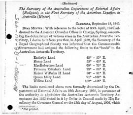 Australian note to the United States concerning the limits of the Australian Antarctic Territory
