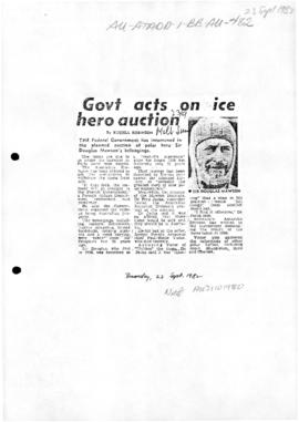 "Robinson, Russell ""Govt acts on ice hero auction"" Herald Sun"