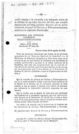 Resolution no. 5,464 of the Posts and Telecommunications Administration establishing post offices at the naval stations of Deception and Melchior and upgrading that on South Orkney Islands