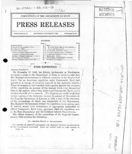 United States press release concerning United Kingdom areas subject to British claim in Byrd Expe...