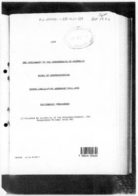 Australia, House of Representatives, Crimes Legislation Amendment Bill 1990, Explanatory Memorandum