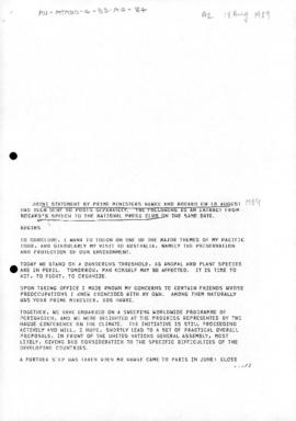 Australia, Department of Foreign Affairs and Trade, Agreement with France on Antarctic; Joint sta...