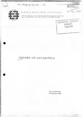 "World Resources Institute ""Report on Antarctica"" Lee Kimball"