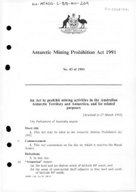 Antarctic Mining Prohibition Act 1991