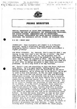 "Australia, Prime Minister (Bob Hawke) ""Partial transcript of joint news conference with the ..."