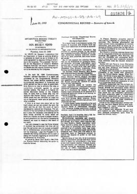 US Congressional Record, Bruce Vento, Antarctica mining treaty rejected
