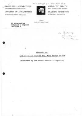 "Fifteenth Antarctic Treaty Consultative Meeting, Paris, Information paper 24 ""Proposed SSSI Ardley Island, Maxwell Bay, King George Island"" (XV ATCM/INF/24) (German Democratic Republic)"