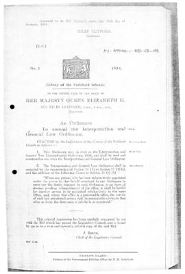 Falkland Islands, Interpretation and General Law Ordinance (Amendment), no 1 of 1954