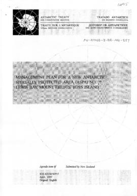 "Twenty-first Antarctic Treaty Consultative Meeting (Christchurch) Working paper 15 ""Manageme..."