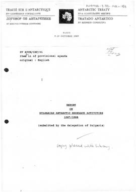 "Fifteenth Antarctic Treaty Consultative Meeting, Paris, Information paper 31 ""Report on Bulgarian Antarctic research activities 1987/1988"" (XV ATCM/INF/31)+D60"