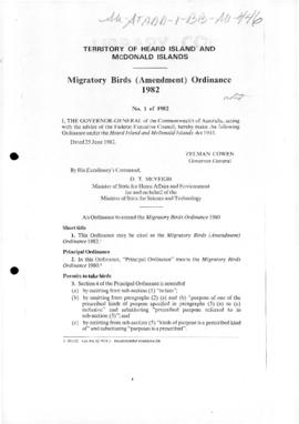 Heard Island and McDonald Islands, Migratory birds (Amendment) Ordinance 1982