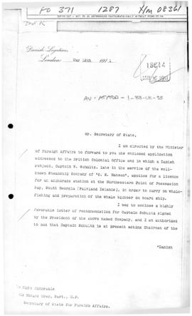 Danish note to the United Kingdom concerning the lease of an anchorage at South Georgia Island to...