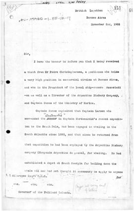 British communication from Buenos Aires to the Governor of the Falkland Islands on an application by the Compania Argentina de Pesca for a lease over South Georgia Island