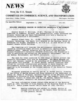 United States Senate, Committee on Commerce, Science, and Transportation, press release concerning hearing on protecting Antarctica's environment by the Science, Technology and Space Subcommittee, and associated transcripts