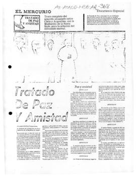 "Press article ""Tratado de Paz y Amistad"" El Mercurio; article in ""Chile now""; and Australian ministerial statement of 3 May 1985"